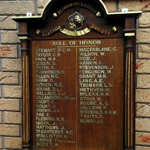 lettering honour boards Prahran and District Scottish Society Roll Of Honor Gold leaf gilded honour board 1