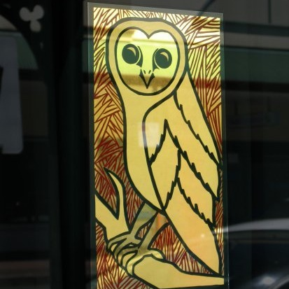 on glass glg reverse window owl