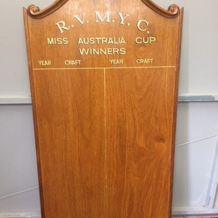 Gold Leaf Gilded Honour Board Lettering - Royal Victoria Motor Yacht Club