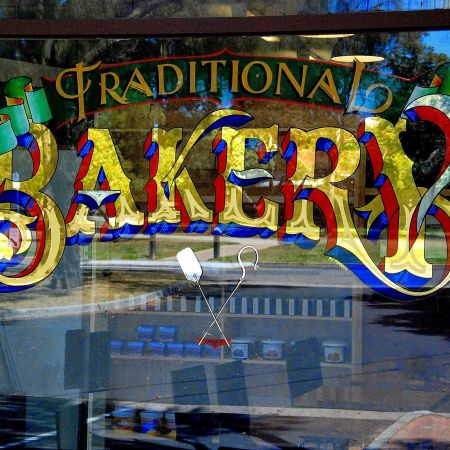 Traditional 24 Karat Gold and Silver Leaf Bespoke Hand Lettered Bakery Sign