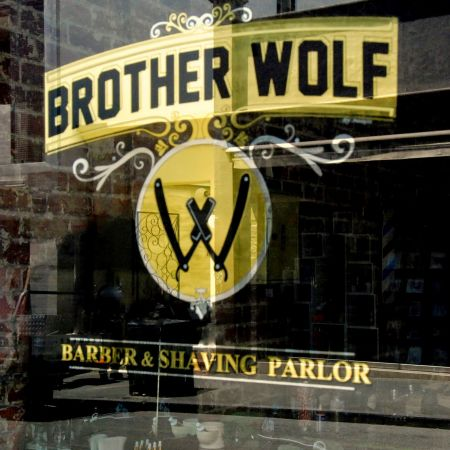 Gold Leaf Signwriting. Brother Wolf Bespoke men's barber. Greville St. Prahran Melb