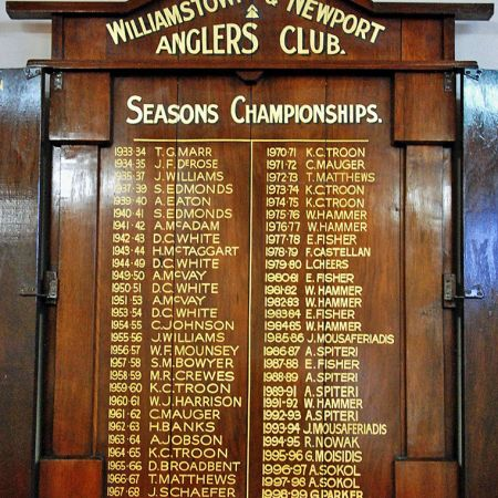 Honour Board Gold Leaf Lettering - Williamstown & Newport Anglers Club