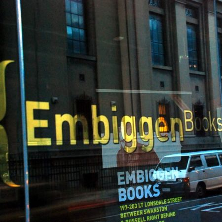 Embiggen Books, Melbourne CBD. Reverse Gold Leaf Gilded Window Signwriting.