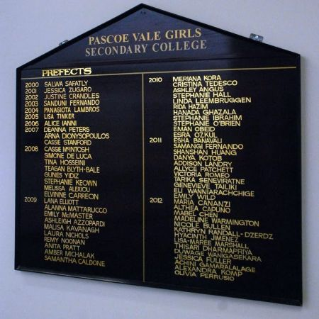 School Prefects Honour Board Gold Leaf Lettering, Pascoe Vale Girls Secondary College, Pascoe Vale, Melbourne