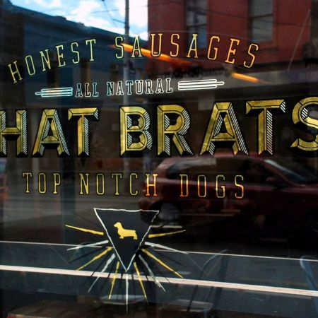 Phat Brat Restaurant, Brunswick Street, Fitzroy. Reverse Gold Leaf Gilded Window Sign.