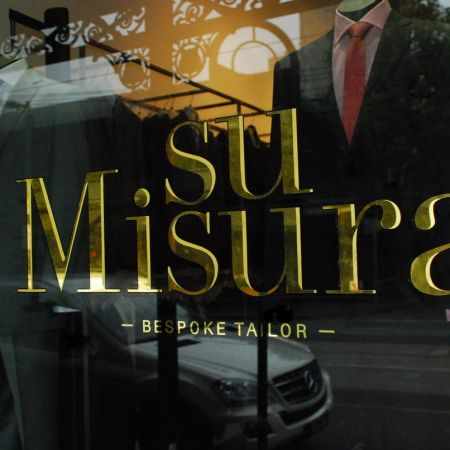 Gold Leaf Gilded Window Signage. Su Misura, Bespoke Tailor, South Yarra, Melbourne.