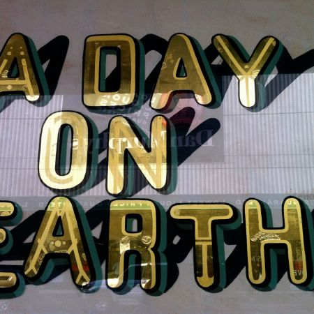 A Day On Earth - Gold Leaf Gilding On Glass Window Signs