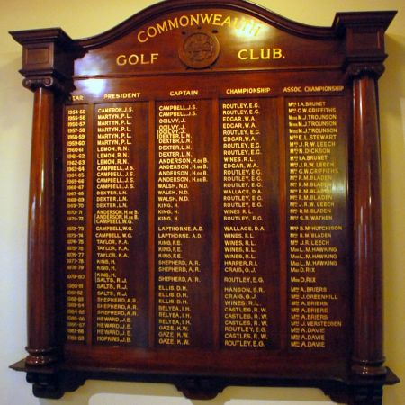 Commonwealth Golf Club Honour Board - Gold Leaf Lettering