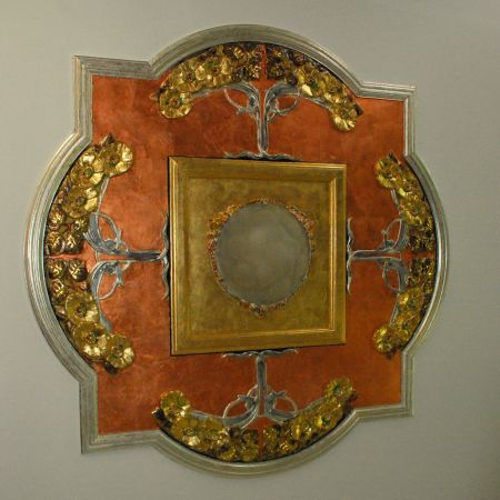 Copper / 24 Karat Gold & Silver leaf application / Plaster Ceiling rose. Lower Plenty Melb.