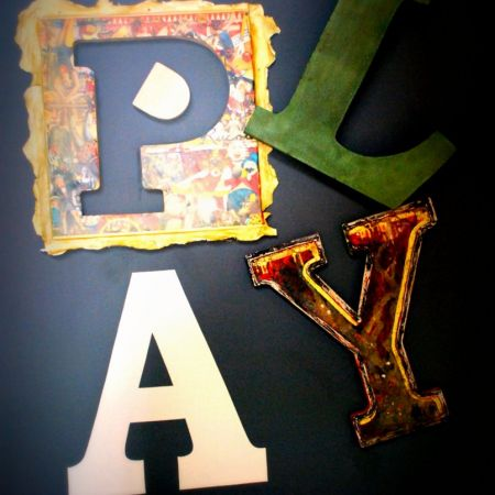 Custom Crafted and Mounted Artistic Lettering With Various Effects - Circus Theme. B&B in Daylesford.