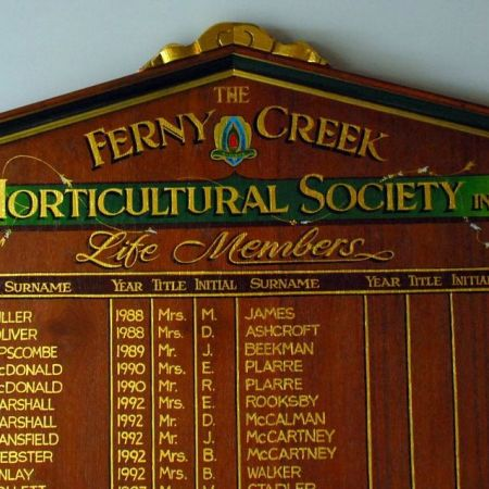 Ferny Creek Horticultural Society Honour Board - Gold Leaf Lettering