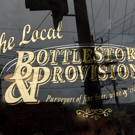 Gold Leaf Window Sign. The Local Bottlestore & Provisions, Carlisle St, St Kilda, Melbourne, Australia