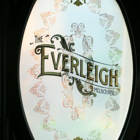 Gold Leaf Gilding on Glass.  The Everleigh, Gertrude St., Fitzroy, Melbourne, Australia.