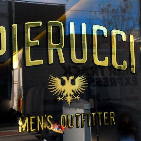 Pierucci Mens Outfitter, Chapel Street, South Yarra. Reverse Gold Leaf Gilded Window Sign.