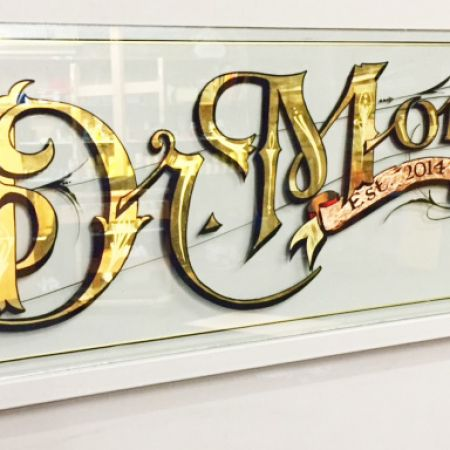 24kt Gold leaf gilding along with copper leaf gilded with traditional effects. Dr.Morse Café, Johnston St., Abbotsford
