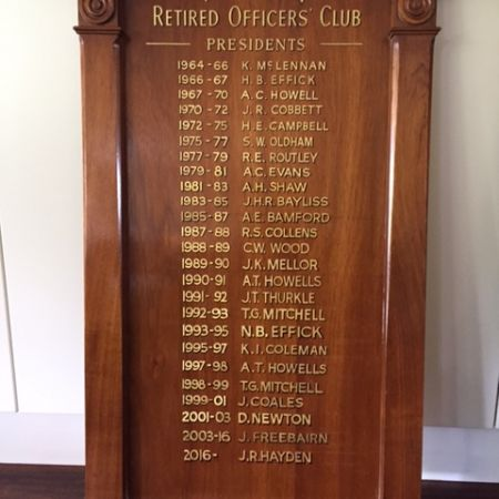 Traditional Solid Timber  – Hand lettering 24 Karat Gold Leaf. National Bank, Retired Officers Club.