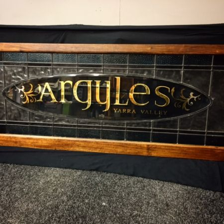 Traditional hand lettering – Reverse Gilded- 24 Karat Gold.  Boutique Accommodation Yarra Valley Victoria.