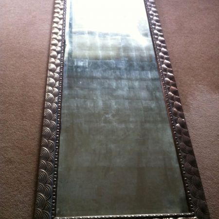 Distressing technique gilded with 23kt silver leaf, silver gilded framed mirror
